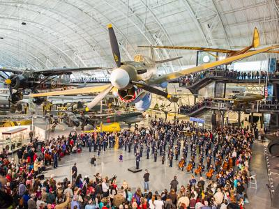 Visitors at the Udvar Hazy branch of the National Air and Space Museum.